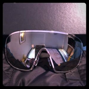 Chanel extra large silver sunglasses